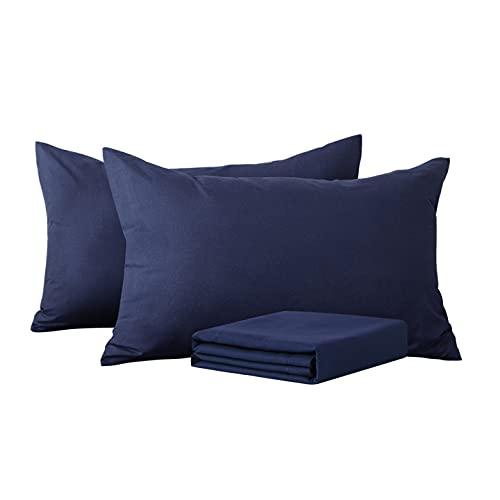 Aisbo - Funda Almohada 50x75 cm para 2 Piezas, Paquete de 2 Funda de Almohada de Microfibra,con Cierre de sobre,Muy Suave,Azul Marino
