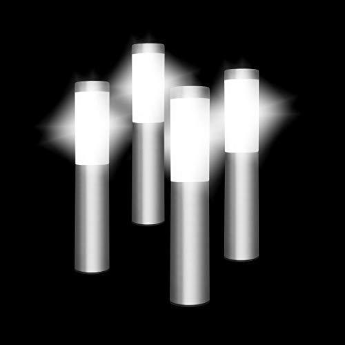 SPV Lights Oscar Solarleuchten – Groß Edelstahl Solarlampen für Außen Aus mit weißen LEDs (4er Set)