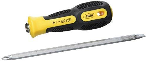 JBM 51955 Destornillador reversible plano estrella, amarillo, 6 x 150 mm