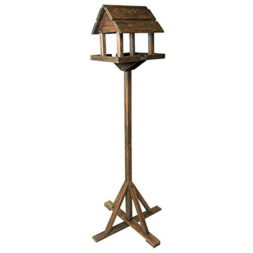 Deluxe Dark Wooden Bird Feeding Garden Wild Birds Tree Table Or Birds House Outdoor Bird Feeder - Traditional Free-Standing Wooden Bird House