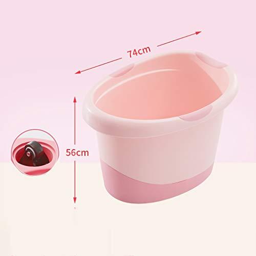 Inflatable tub Baignoire Portative Sécurisée pour Enfants avec Roues, Baignoire pour Bébé Baignoire pour Enfants avec Tabouret De Bain Antidérapant Amovible, (Color : Pink)