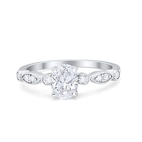 Blue Apple Co. Oval Art Deco Vintage Style Wedding Engagement Ring Round Simulated Cubic Zirconia...