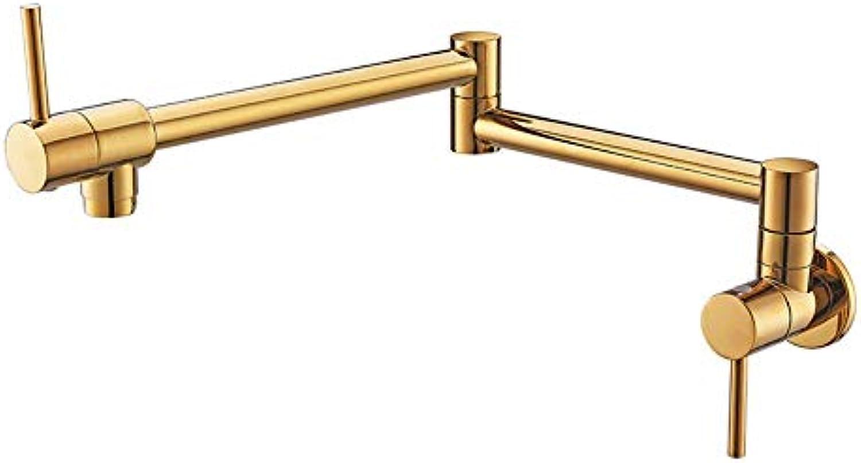 Wasserhhne Waschtischarmaturen Volles Kupfer, Das Einzelne Heiwasser-Becken-Wasserhahn-Horizontale Wand-Becken-Sink-Wasserhahn Faltet