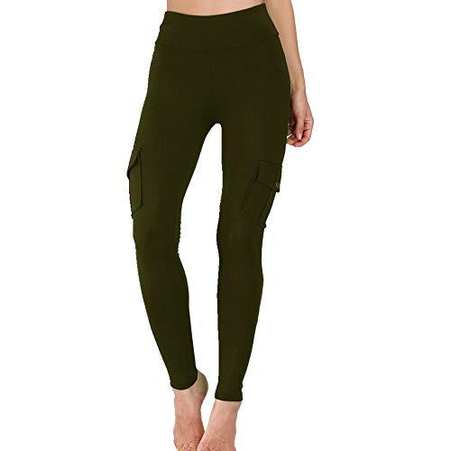 N\P Pantalones de carga ajustados de cintura alta para mujer con bolsillos laterales, leggings con bolsillo en la cadera, leggings para entrenamiento y deportes