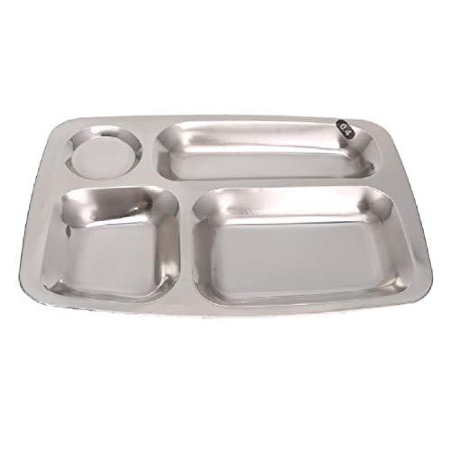 SWEETWU Dsxnklnd - Bandeja dividida de acero inoxidable, bandeja de almuerzo con compartimentos