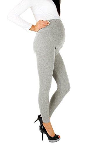 FUTURO FASHION® - Schwangerschaftsleggings - knöchellang - sehr warm & dick - aus Baumwolle - Fleece innen - bequem - Größe 36-50 - Aschgrau - 38