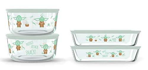 Pyrex Disney Star Wars The Child Decorated Glass Set Food Storage, 8 Piece