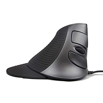 J-Tech Digital Scroll Endurance Wired Mouse Ergonomic Vertical USB Mouse with Adjustable Sensitivity  600/1000/1600 DPI  Removable Palm Rest & Thumb Buttons - Reduces Hand/Wrist Pain  Wired