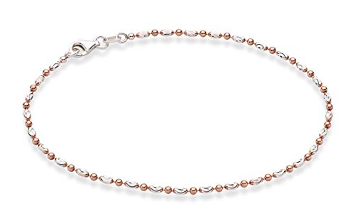 Miabella 925 Sterling Silver Diamond-Cut Oval and Round Bead Ball Chain Anklet Ankle Bracelet for Women Teen Girls, 9, 10 Inch Made in Italy (9, Two-Tone, Rose Gold Plated-Silver)