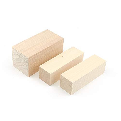 Zite Tools Schnitzholz Set - Linden-Holz Rohlinge 10cm Eckig zum Schnitzen - 2 x 30x30mm + 1 x 50x50mm