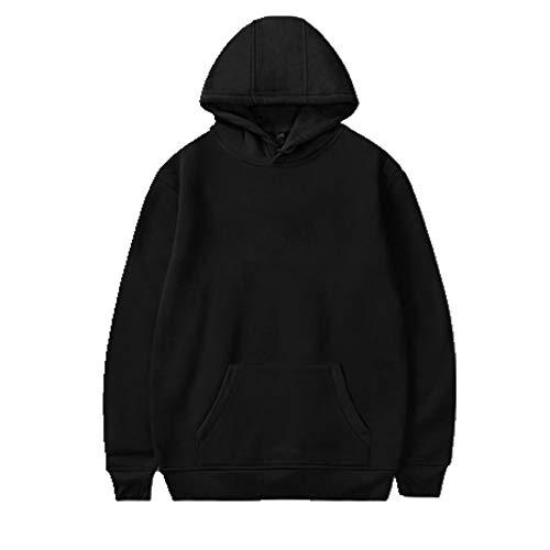 Sudadera con capucha para hombre de manga larga con capucha, ropa casual Negro Negro ( XXL