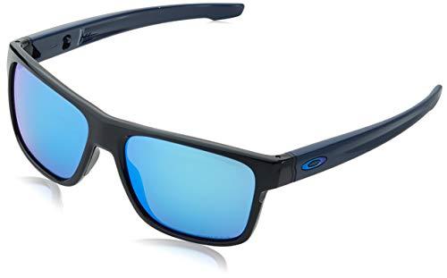 Oakley Herren Crossrange Sonnenbrille, Aero Polished Black / Prizm Sapphire, 57
