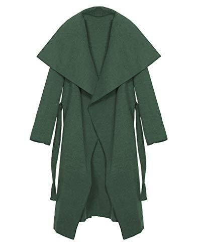 Kendindza Damen Mantel Trenchcoat mit Gürtel OneSize Lang und Kurz (Khaki Lang, one_Size)