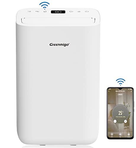 Greenmigo Deshumidificador Ionizador Portátil 13L/24h Pro WiFi Control con App,Gas R290,Prefiltro Antibacteriano,Persiana Automática contra el Polvo,Silencioso,Temporizador 24h,Apagado Automático