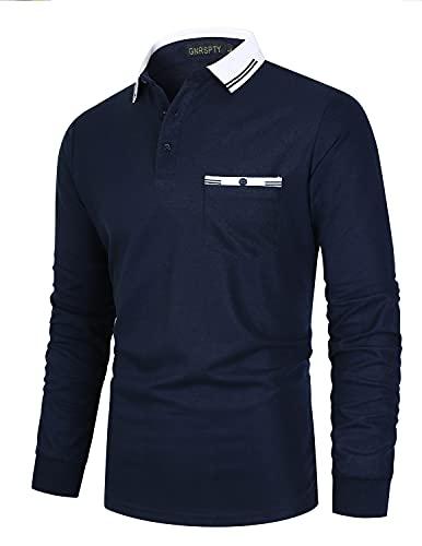 GNRSPTY Polo Uomo Manica Lunga Cotone con Tasca Reale Slim Fit Basic Camicia Maglietta...