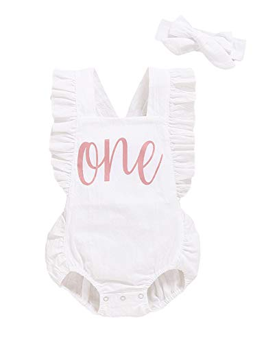 Shalofer Baby Girls One Year Old Outfits First Birthday Romper Cute Backless Ruffles Jumpsuit with Headband (White,12-18 Months)