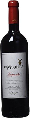 Los Molinos Vino Tinto Tempranillo Botella, D.O.P. Valdepeñas, 75cl