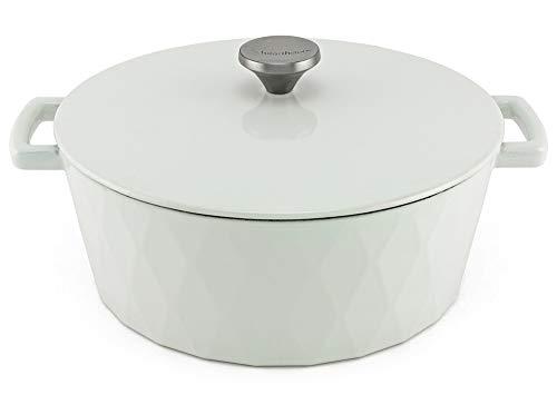 HearthStone Cocotte Diamond en fonte émaillée, blanc, 28 cm, 6,9 l, pour toutes les surfaces, y compris l'induction et le four.