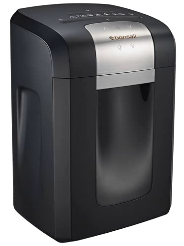 Bonsaii 120-Minute Heavy-Duty 14-Sheet Cross-Cut Paper Shredder, CD and Credit Card Shredder Machine with Jam Proof System, 6-Gallon Pullout Wastebasket and Transparent Window, Black (3S23)