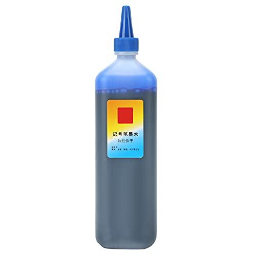 Recarga de tinta de marcador Reemplazo aceitoso Impresora a granel universal Color Rotulador permanente para carteles Reposición de líquido Suministros para manualidades(Azul)