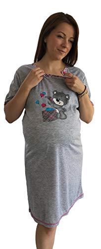ADAMS FASHION 943 - Pijama de maternidad para mujer, vestido de noche para embarazo, enfermería, hospitalario, color fucsia S