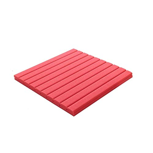 Piano Room Acoustic Panels, Color Plafond Wand Recording Studio Decoration Geluidsabsorberende Cotton 30PCS (Color : Red)