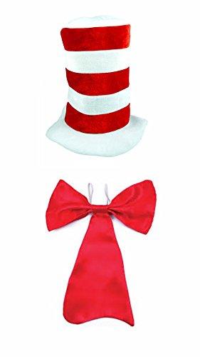 Erwachsene Lehrer Katze im Hut Rot & weiß Gestreift Rot Fliege Set