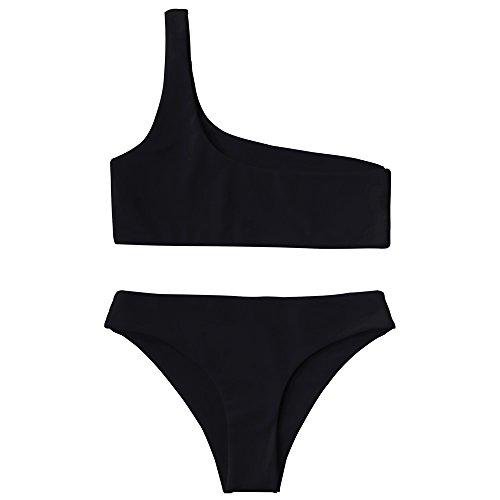 ZAFUL Women's One Shoulder Cut Out Ribbed Bandeau Bikini Set Two Piece Swimsuit (R-Black, L)