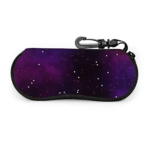 Universe Star Space Sky - Funda protectora para gafas de viaje portátil con cremallera de neopreno suave para gafas con cremallera y gancho para cinturón antirrobo