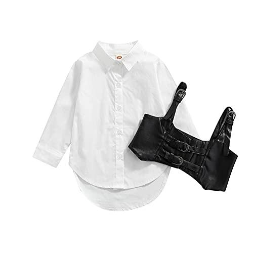 1-6 años vestido de camisa para niñas pequeñas con corsé chaleco de manga larga Bustier vestido vintage Streetwear bebé otoño vestido, f, 18-24 Meses