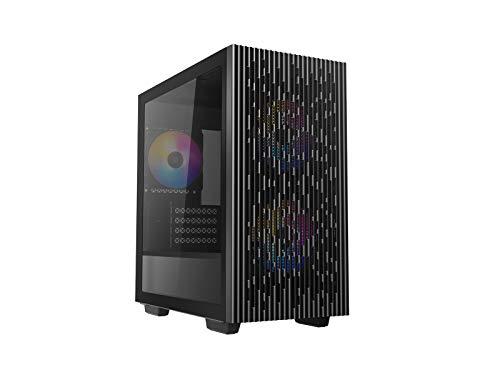 DEEP COOL MATREXX 40 3FS,m-ATX Case per PC, 3 Ventole LED Tricolore da 120 mm, Pannello Laterale in Vetro Temperato, Pannello Superiore e Pannello Frontale in Rete