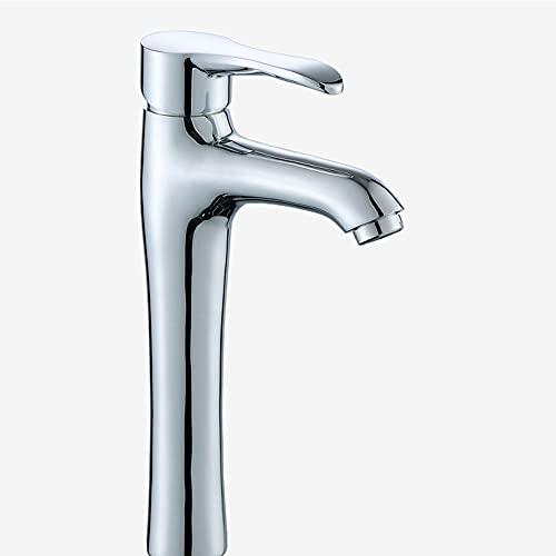 YSKCSRY Grifo de baño principal, grifo de lavabo de baño moderno, grifo de lavabo de 1 orificio de una manija de latón, grifo de lavabo frío y caliente con a prueba de salpicaduras para baño de estudi