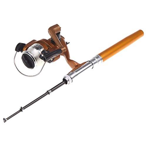 Lixada Angelrute Aluminium Pocket Pen Rod Fishing Mini Teleskop Angelrute Pole + Aufroller (Gold)