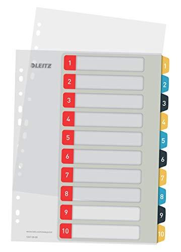 Leitz PC-beschriftbares Register in A4 Format, 1-10, Robust, Mehrfarbig, Cosy-Serie, 12470000