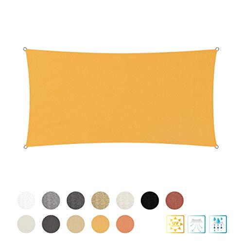 Lumaland Sonnensegel inkl. Befestigungsseile - Rechteck 2 x 4 Meter - 160 g/m² Polyester mit doppelter PU-Beschichtung - UV-Schutz 30+, wasserabweisend, atmungsaktiv, wetterbeständig - Gelb
