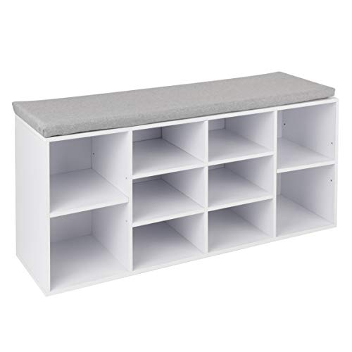 Spetebo Holz Schuhbank mit 10 Fächern - 103 x 29 x 49 cm - Schuhregal Sitzbank Schuhschrank Schuhablage
