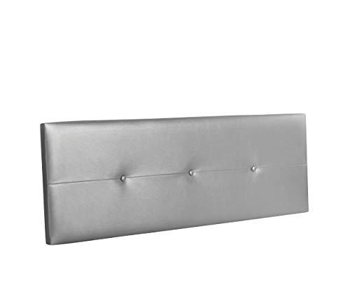 DHOME Cabecero de Polipiel o Tela AQUALINE Pro cabeceros Cabezal tapizado Cama Lujo (Polipiel Plateado, 145cm (Camas 120/135/140))