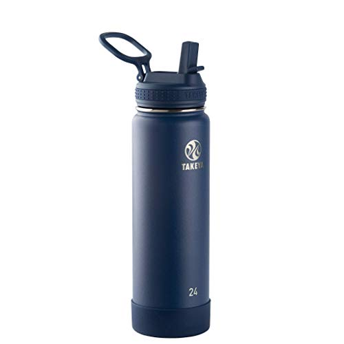 Takeya Actives Insulated Stainless Steel Water Bottle with Straw Lid, 24 oz, Midnight