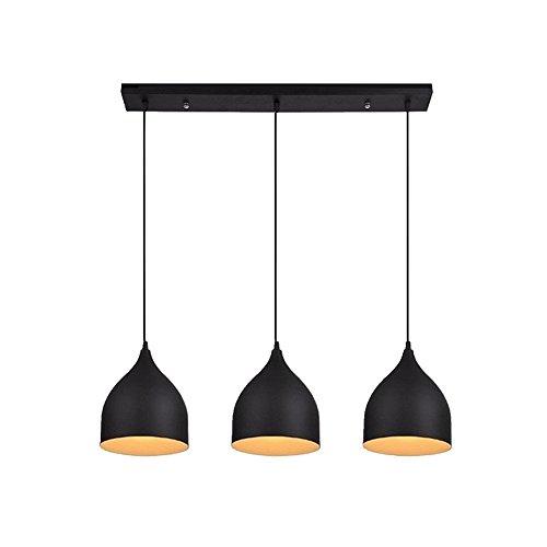 Mhome - Lámpara de techo con forma de cono para sala, comedor, recámara, oficina, cocina, isla, con 3 luces, Moderno, Neg