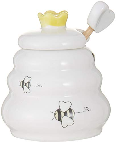 Sweet As Can Bee Ceramic Honey Pot with Wooden Dipper