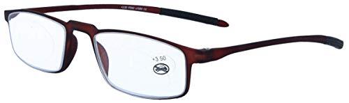 Praktische, lichte kunststof leesbril FINN met flexibele beugels en clip. + 2,00 dpt bruin