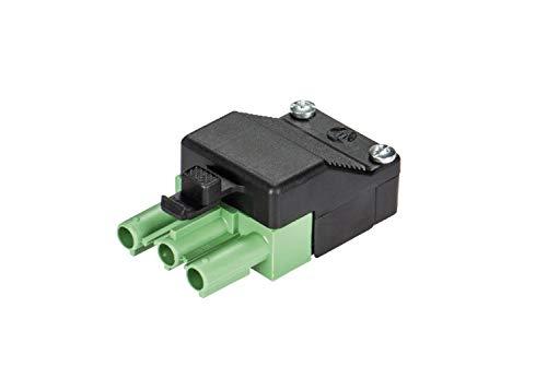 Wieland Stecker ST18/3S C1 ZEV GN RD, 3-polig, unmontiert, mit Zugentlastung und Verriegelung, Stecker: grün, Zugentlastung: schwarz