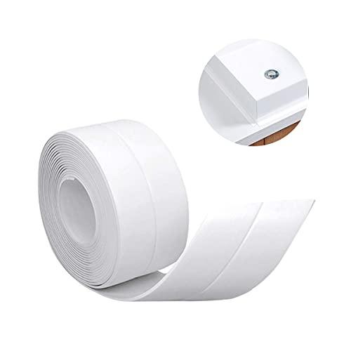 Cinta de sellado impermeable, cinta de sellado impermeable y a prueba de aceite para cocina casera, adecuada para cocina, baño, bañera, ducha, piso, pared, protección de bordes (blanco)