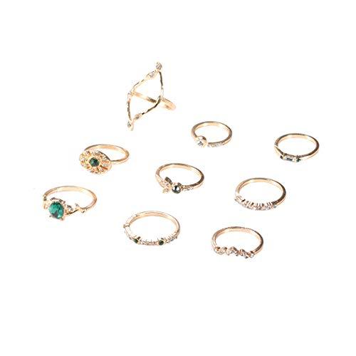 Simsly Ring-Set für Damen und Mädchen, Vintage-Stil, grüner Kristall, Goldgelenk, 9 Stück