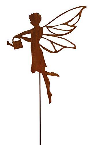 Klocke Edelrost Dekor Hochwertiger Gartenstecker Weihnachten – Weihnachtsdeko Rost – Rostdeko/Dekoration/Gartendeko/Weihnachtsfigur (Fee Gießkanne - Länge: 50cm)