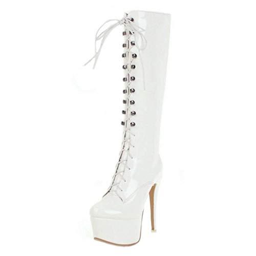 COOLCEPT Mujer Moda Tacón Alto Fiesta Vestido Botas Plataforma Botas de Rodilla Otoño White Size 41 Asian