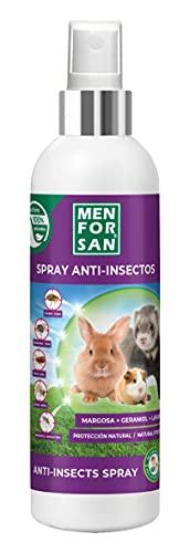 MENFORSAN Spray Anti-Insectos de Uso Directo para roedores, Conejos y Hurones 125ml, con Ingredientes insecticidas Naturales, Margosa, Gerniol y Lavandino