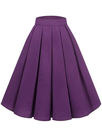 Bridesmay Falda Plisada Estampada Floral/a Lunares Vintage de Años para Mujeres Purple L