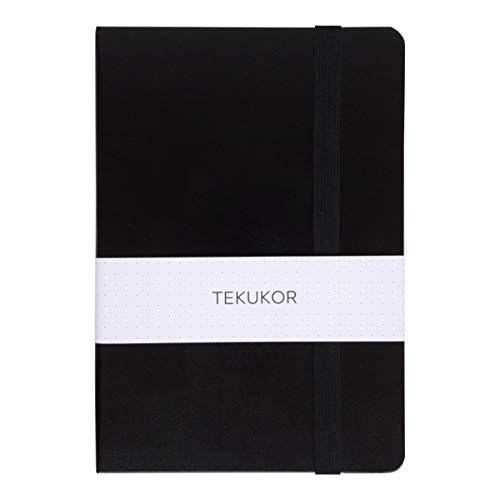 Tekukor A5 Notebook Hardcover Dot Grid - 100gsm - Dotted Pages For Bullet Journal - Black