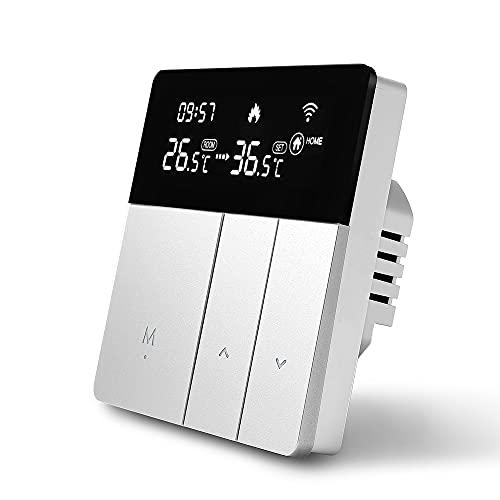Beok Tuya Termostatos Inteligentes Termostato de calefacción Termostato de habitación Termostato WiFi Termostato de Pared Inteligente para calefacción eléctrica Compatible con Alexa, Google 16A